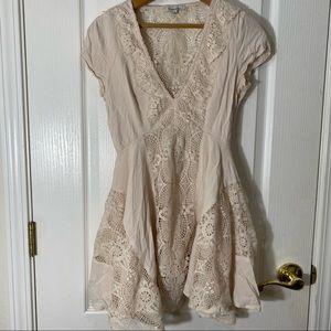 Detailed Fringe Cream Low Cut V Neck Dress